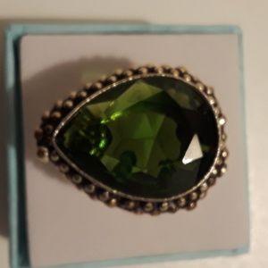 Jewelry - Peridot gemstone pear-shaped ring size 8